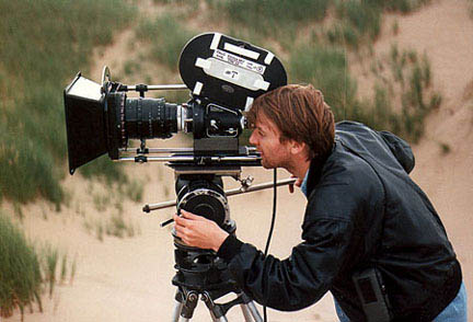 Director & Cinematographer, Charles Teton lines up a shot with an Arriflex 2C and K35 Canon Macro Zoom..
