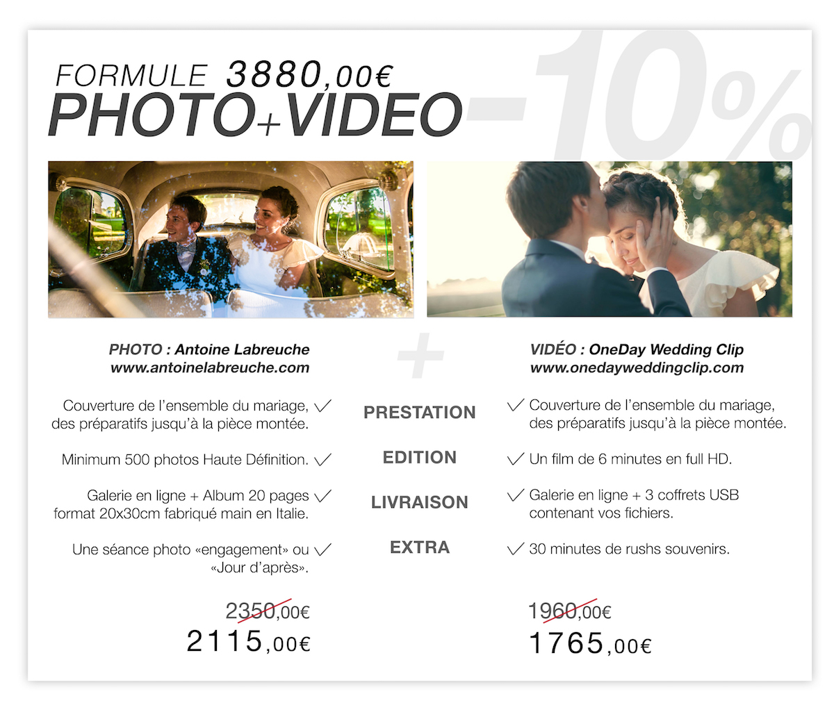 Tarifs Photo Video Mariage