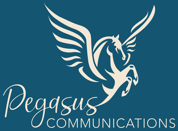 Pegasus Communication Logo Blue Background