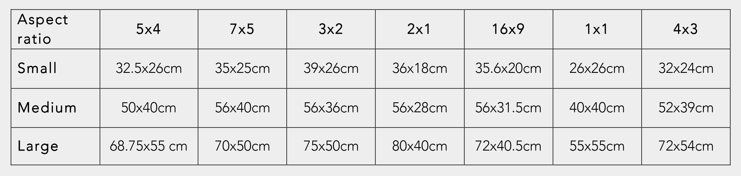 Table Of Print Sizes Grey